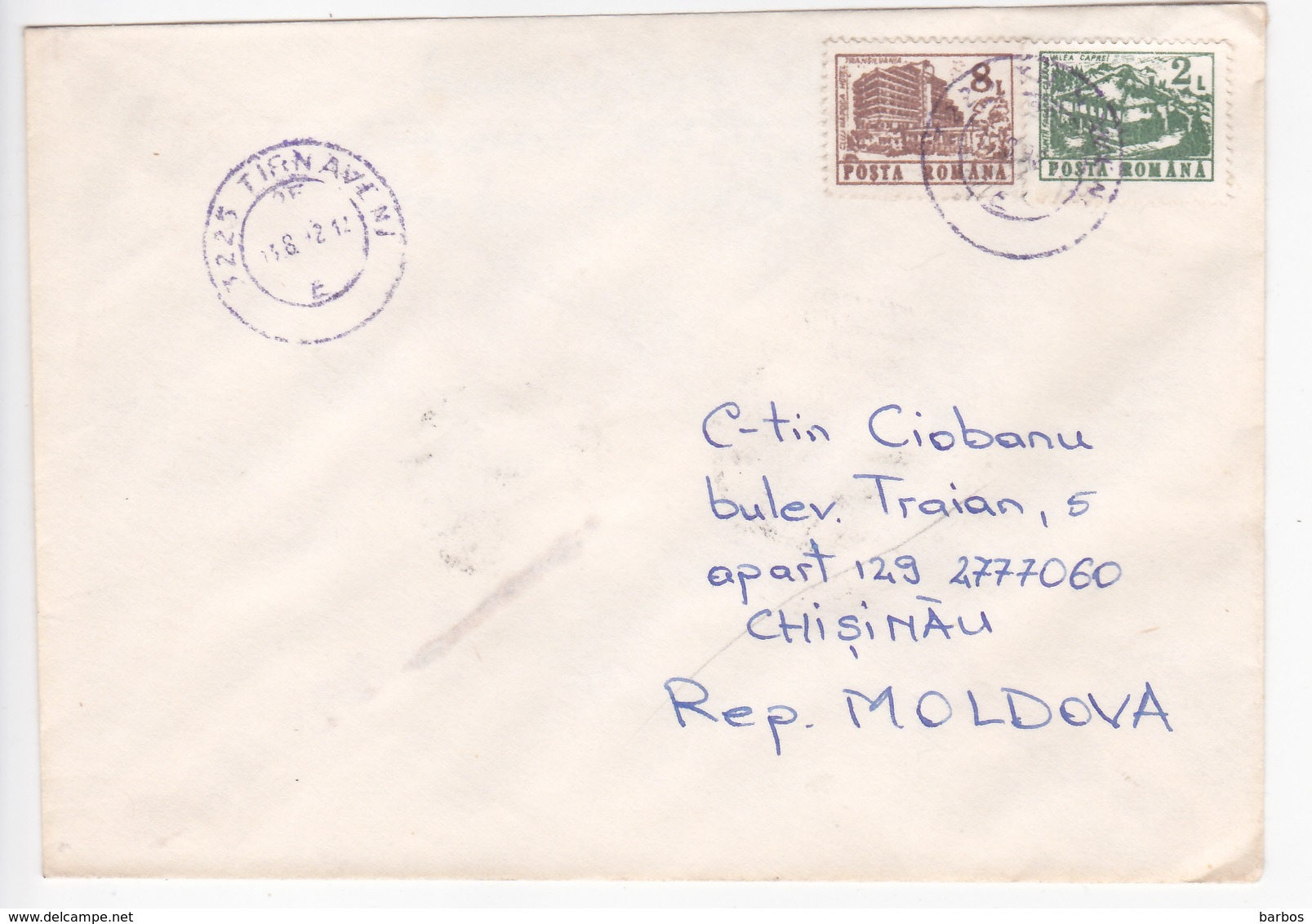 1992 , Roumanie To Moldova , Definitive , Architecture , Used Cover - 1948-.... Républiques