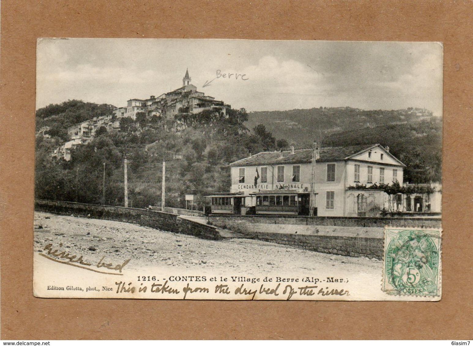CPA - CONTES (06) - Aspect Du Tram à L'arrêt Devant La Gendarmerie En 1903 - Contes