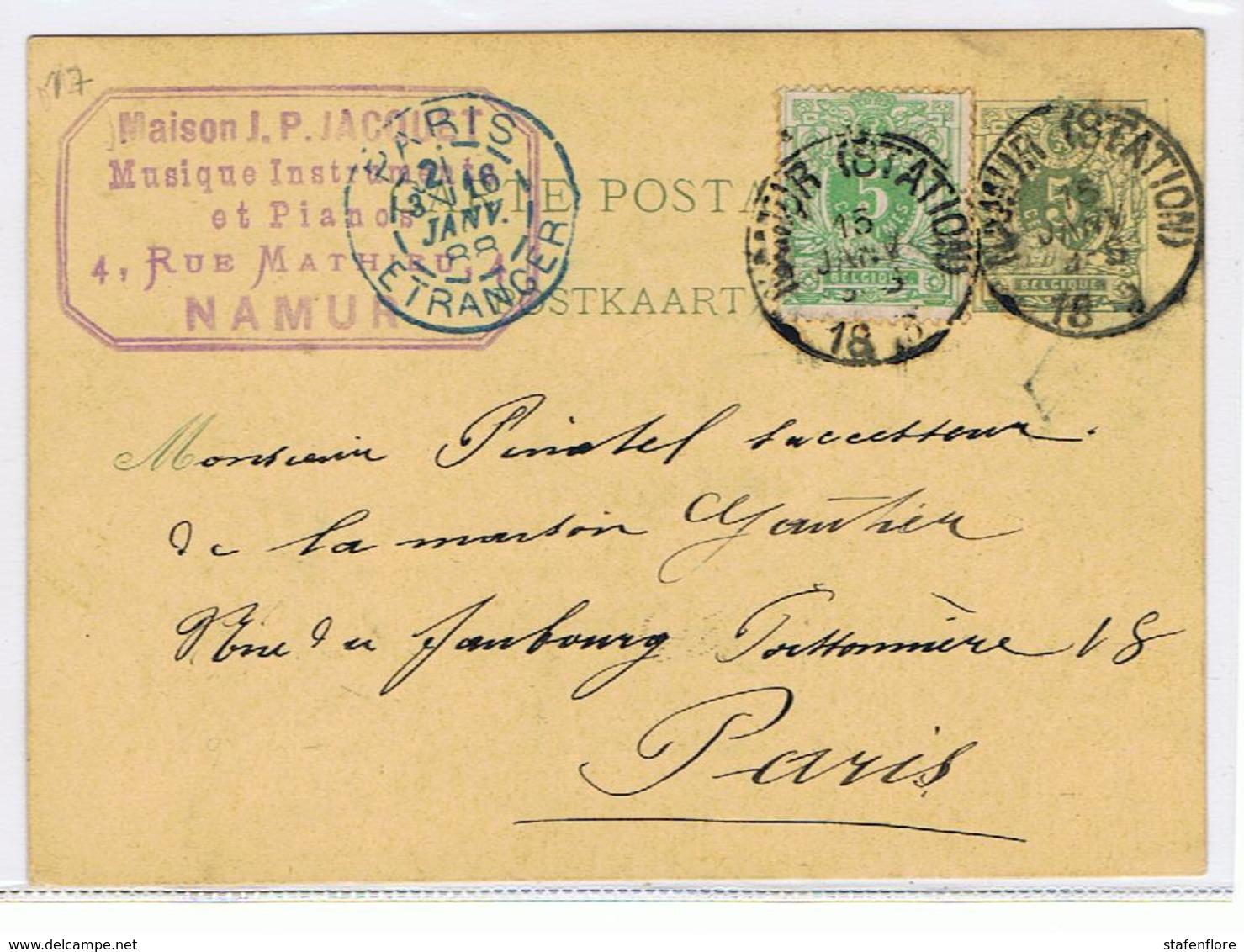 Briefkaart Van Maison  J.P. Jacoubi, Musique Instrumenten Naar Maison Gauthier In Parijs Voor Muziekpartituren - België