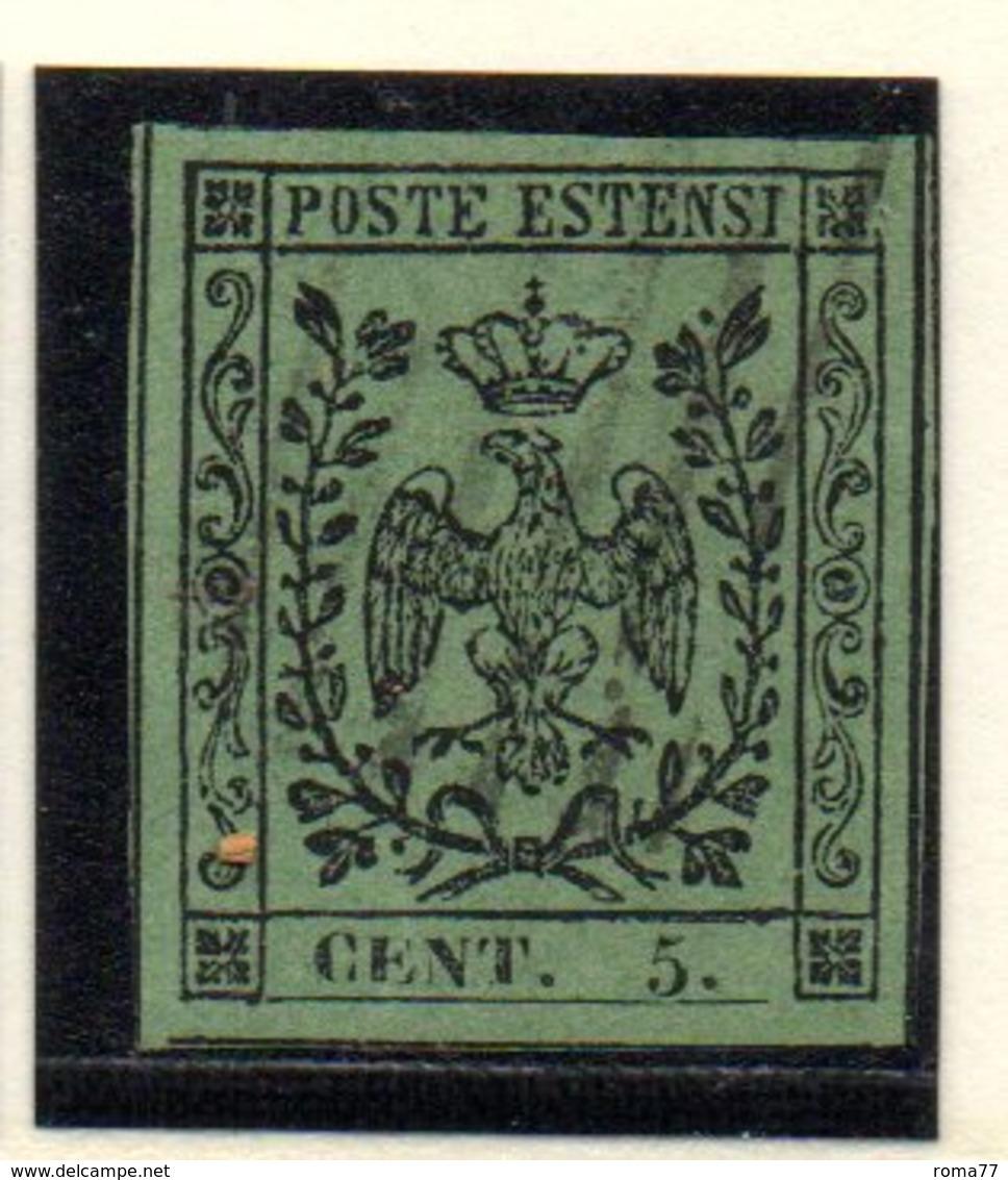 ASI51 - MODENA 1852 , 5 Cent  N. 7  Usato Con Punto Dopo La Cifra. - Modena