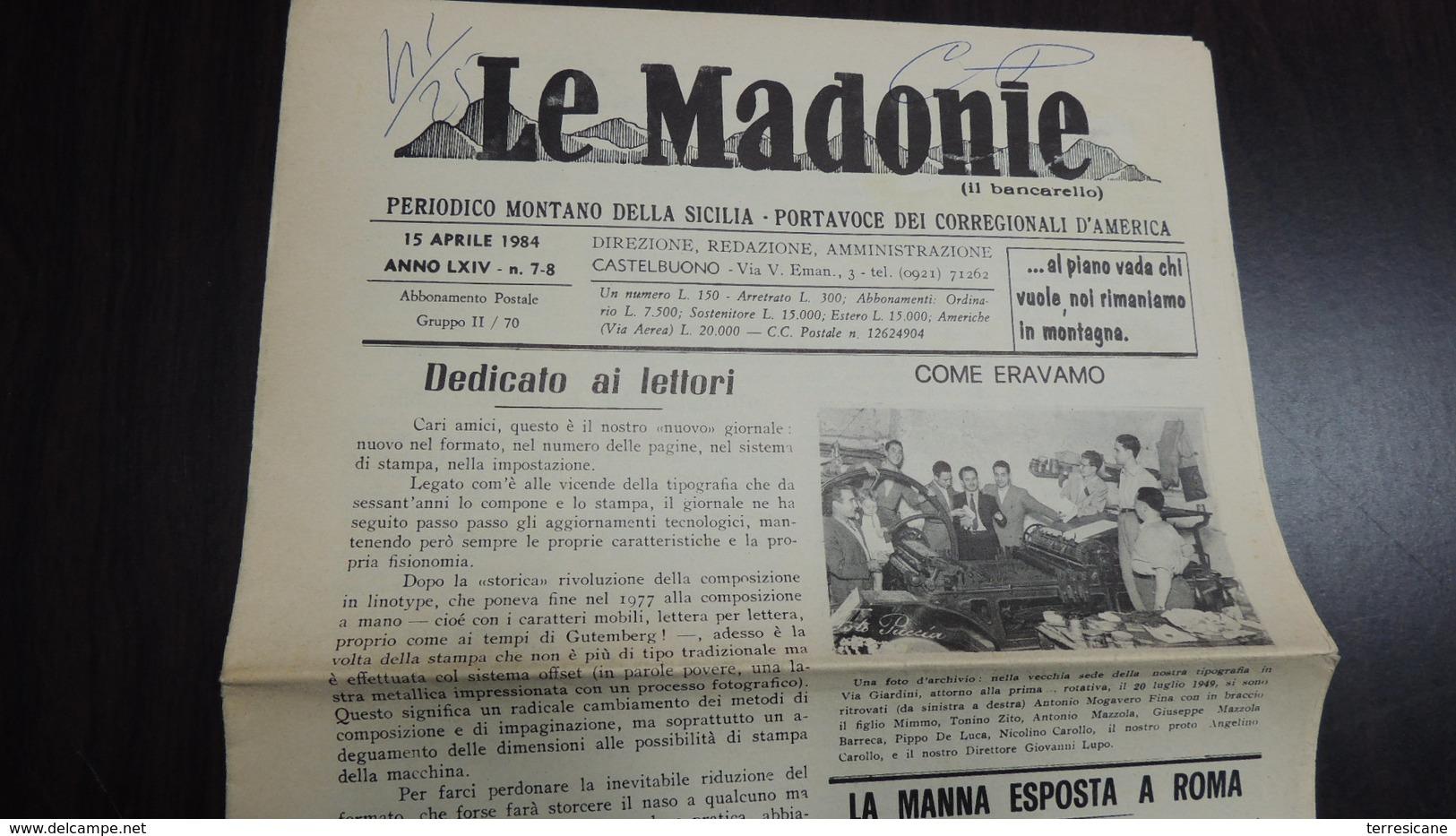 LE MADONIE PERIODICO MONTANO DELLA SICILIA N.7 1984 - Autres