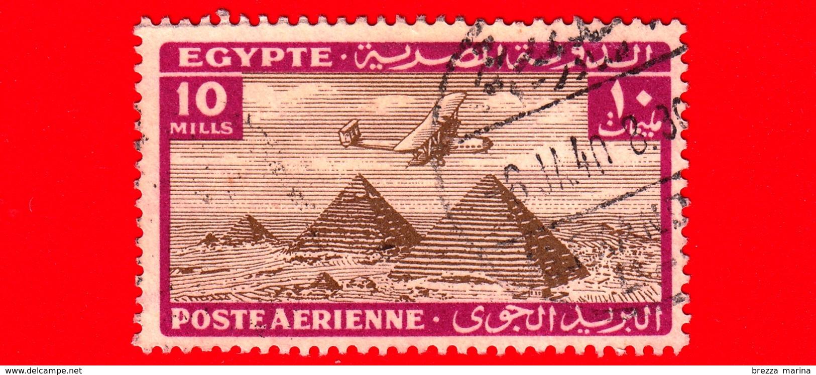 EGITTO - Usato - 1933 - Aereo Che Vola Sopra Le Piramidi Di Giza - 10 P. Aerea - Poste Aérienne