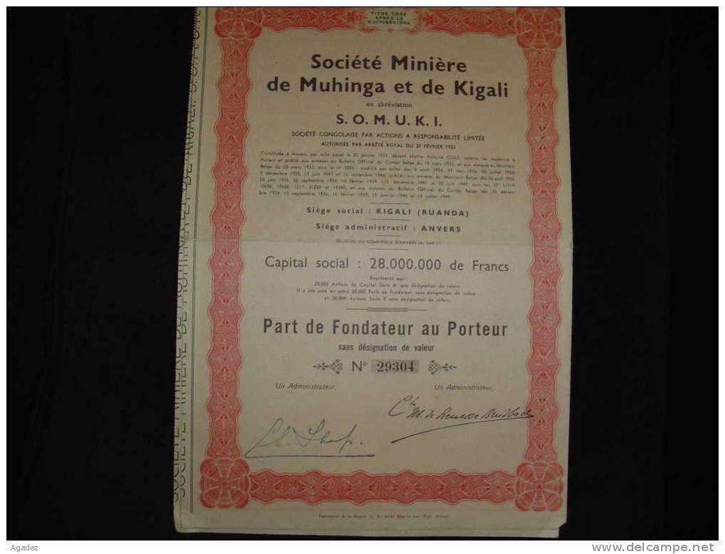 """Part Fond.""""Sté Minière De Muhinga Et Kigali""""    (Ruanda) 1949  Rwanda. - Afrique"""