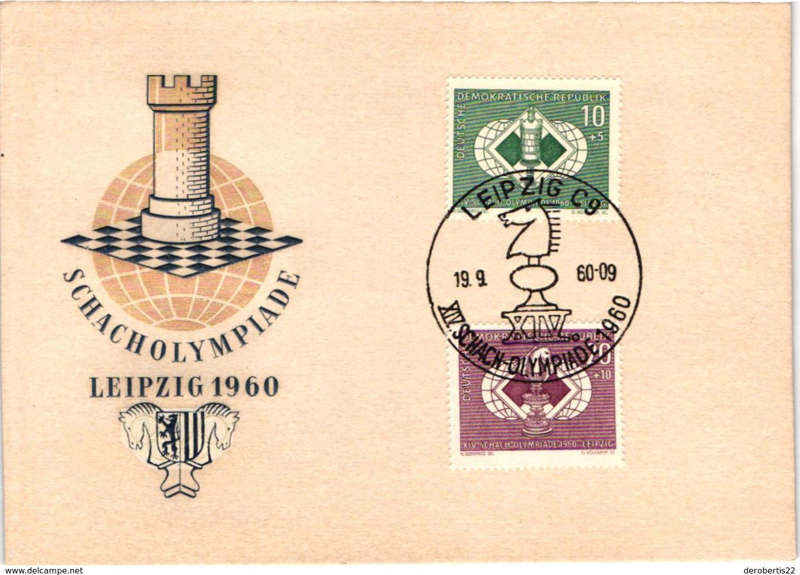 Chess Schach Echecs Ajedrez - East Germany. Leipzig 1960 14th Chess Olympiad - Souvenir Card CKM 78c - Scacchi