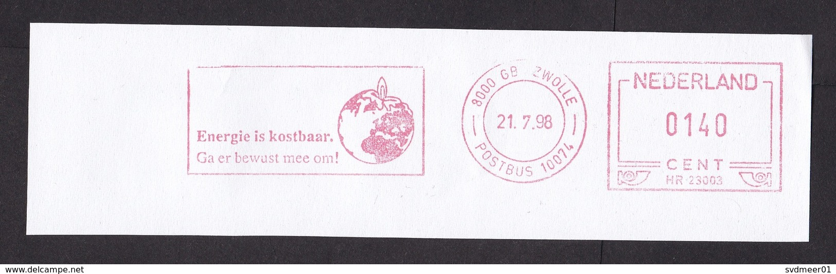 Netherlands: Meter Cancel On Paper (cut-out), 1998, Energy Saving, Globe As Candle, Environment, Climate (traces Of Use) - 1980-... (Beatrix)