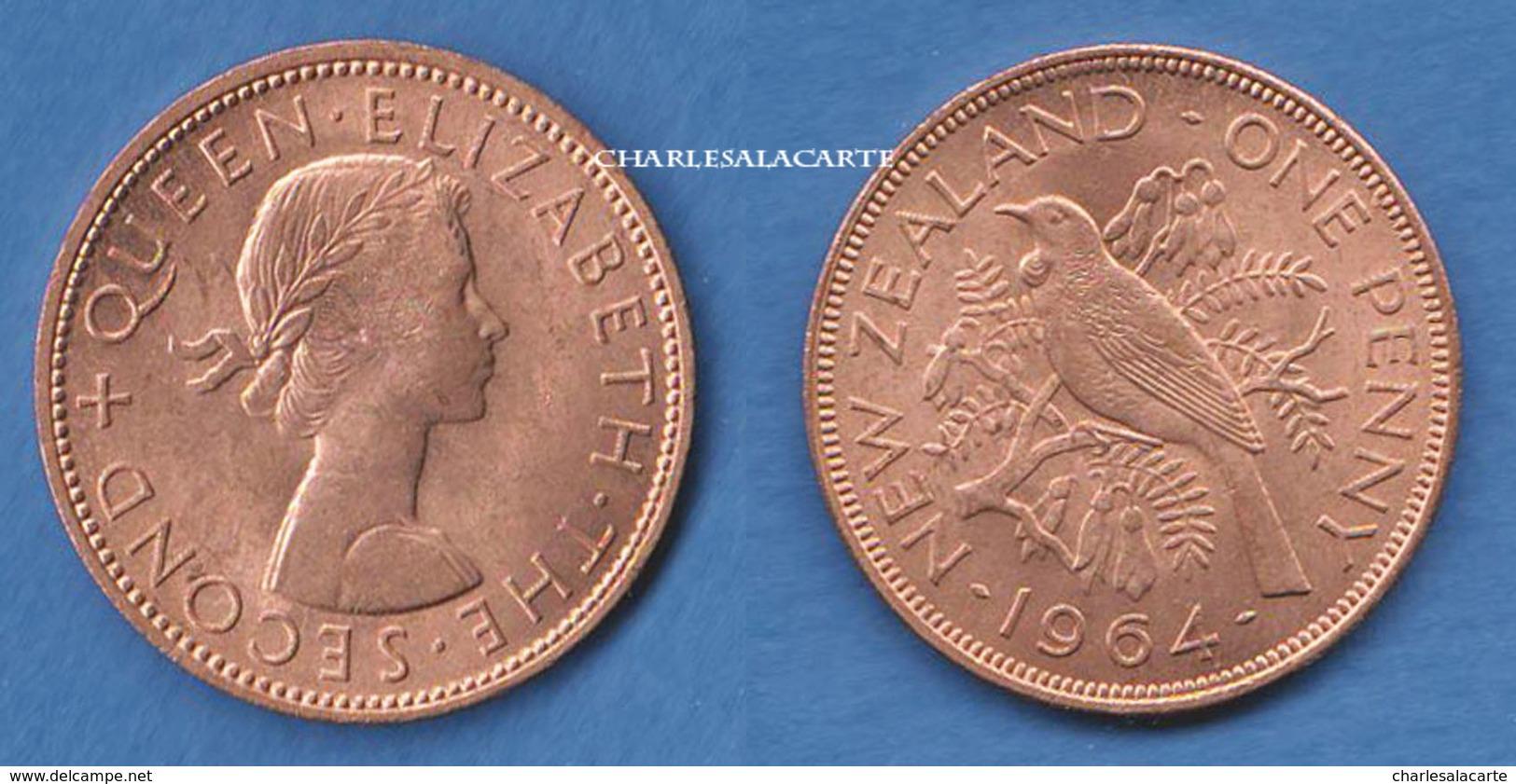 NEW ZEALAND 1964  ELIZABETH II  1d. BRONZE  QUEEN AND TUI BIRD  SUPERB CONDITION - Nouvelle-Zélande