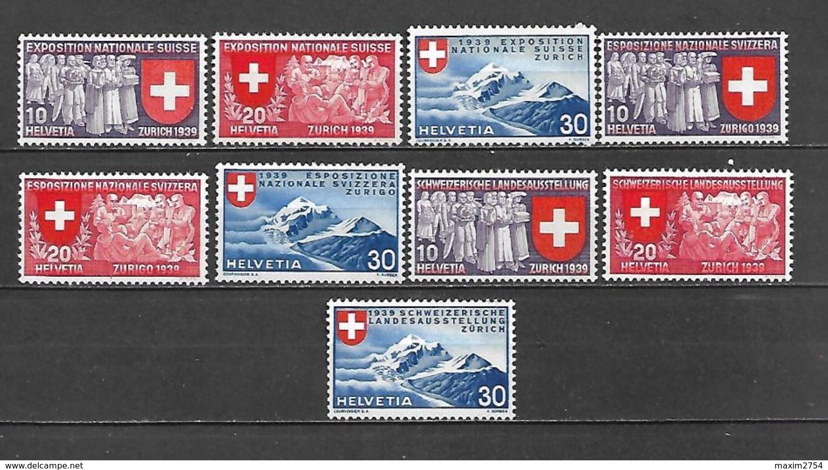 1939 - N. 320/28** (CATALOGO UNIFICATO) - Svizzera