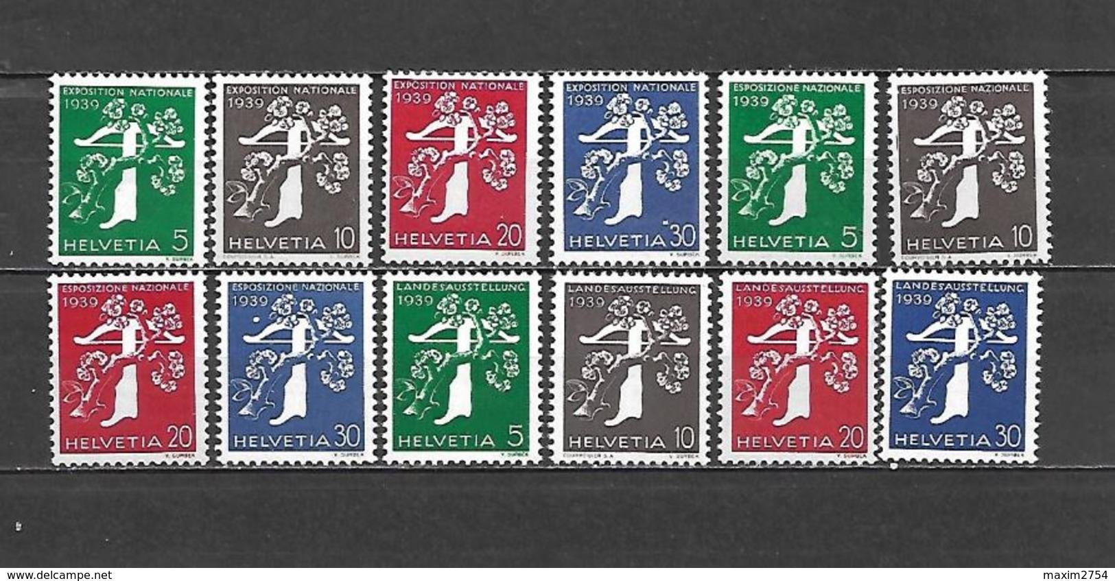 1939 - N. 329A/40A** (CATALOGO UNIFICATO) - Svizzera