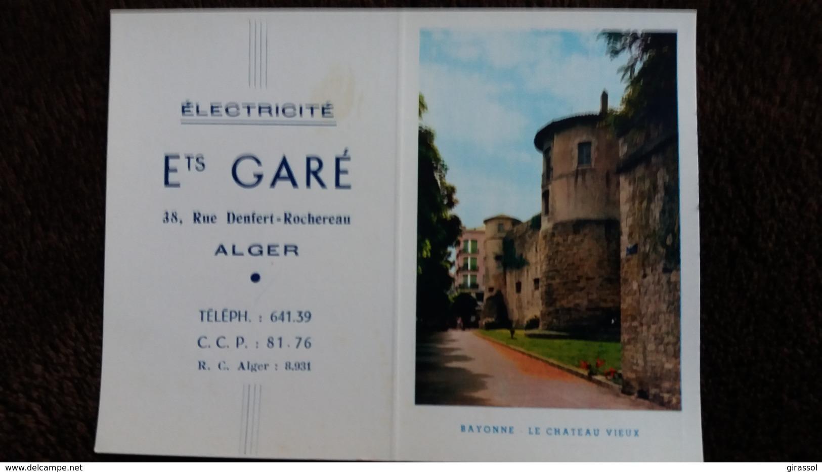 CALENDRIER POCHE 1958 ELECTRICITE ETS GARE ALGER RUE DENFERT ROCHEREAU VUE DE BAYONNE CHATEAU VIEUX - Calendriers