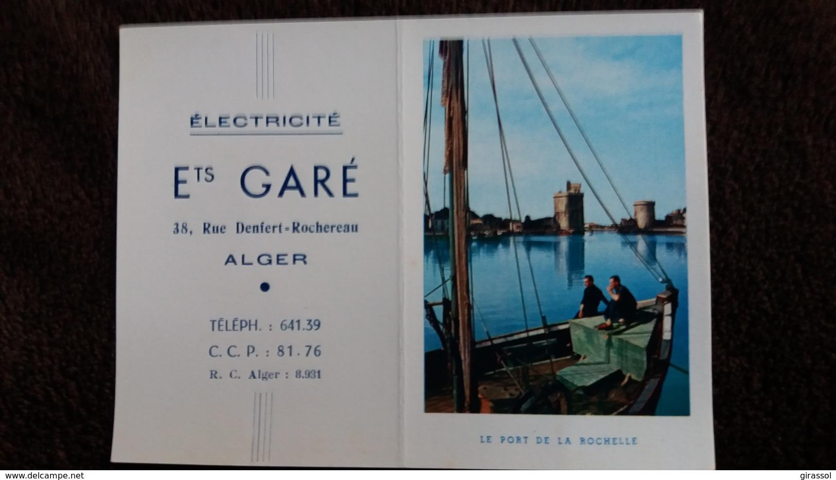 CALENDRIER POCHE 1958 ELECTRICITE ETS GARE ALGER RUE DENFERT ROCHEREAU VUE DU PORT DE LA ROCHELLE - Calendriers