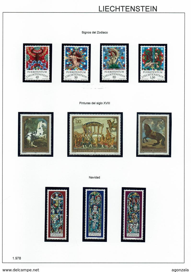 COLLECTION TIMBRES NOUVELLES MNH DE LIECHTENSTEIN ANNÉES 1975 À 2018 COMPLETES MONTÉE DANS 2 ARCHIVERS AVEC BANDES HAWID - Stamps