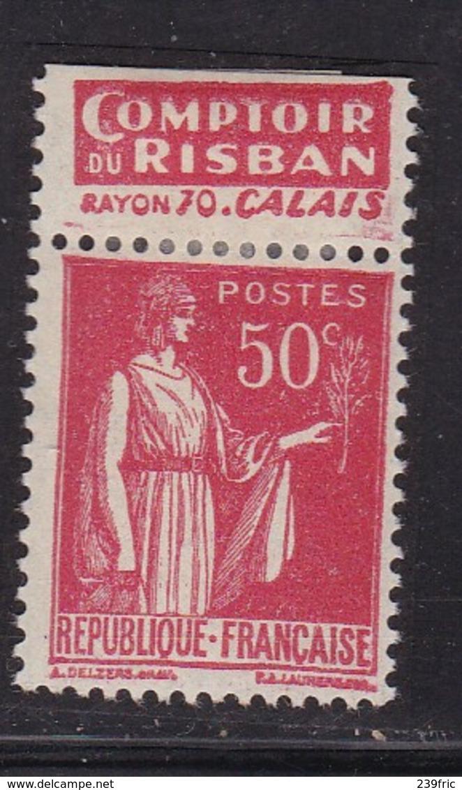 PUBLICITE: TYPE PAIX 50C ROUGE RISBAN-calais ACCP 930 NEUF* - Werbung