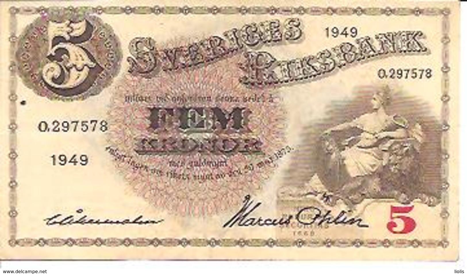 Sweden  5 Kronor  1949 - Suède