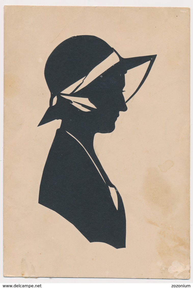 Silhouette Woman With Hat Femme Original Vintage Hand Made Silouette Siluette  Old Card - Silhouettes