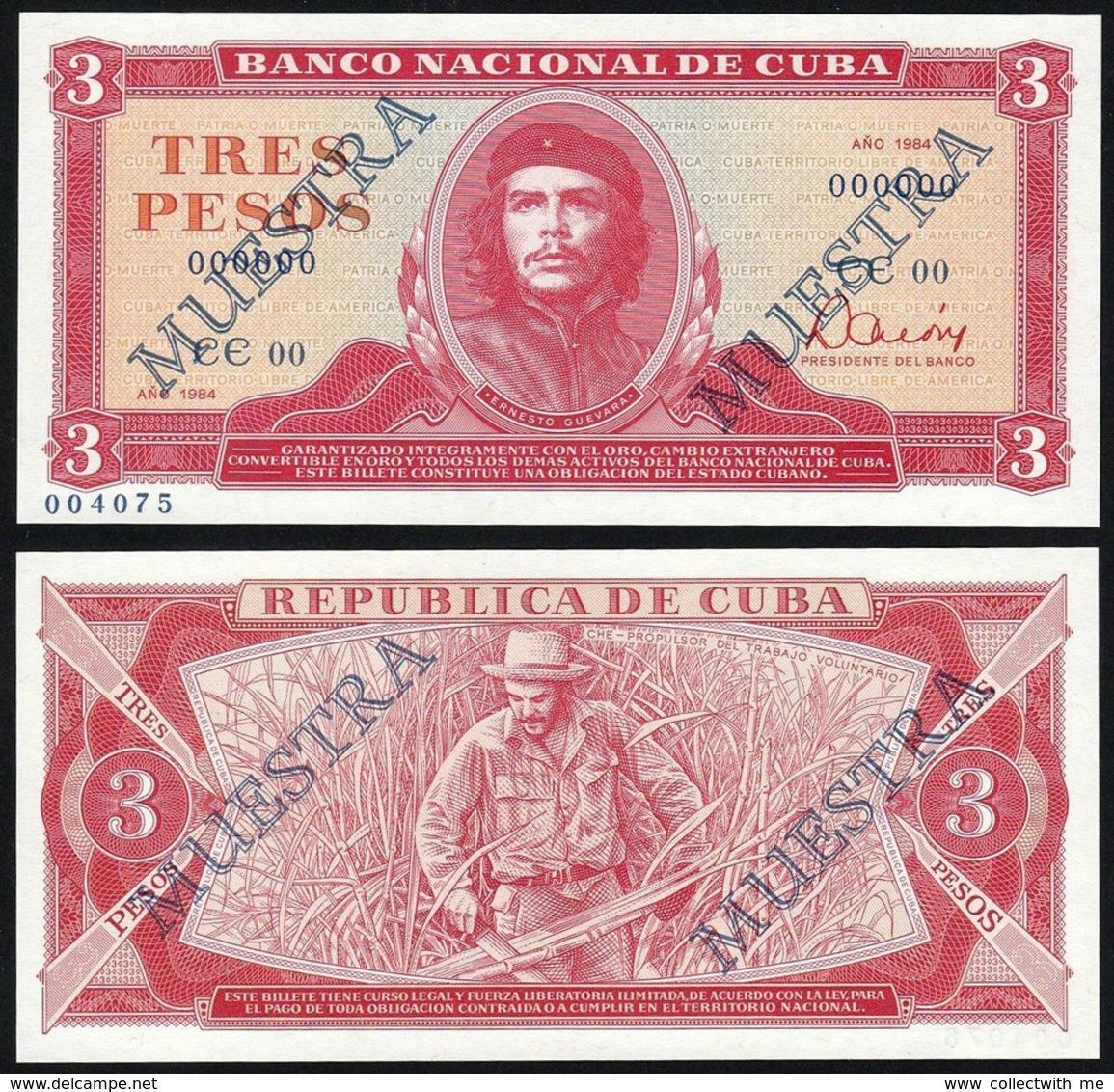 Cuba 3 Pesos 1984 UNC Specimen - Cuba