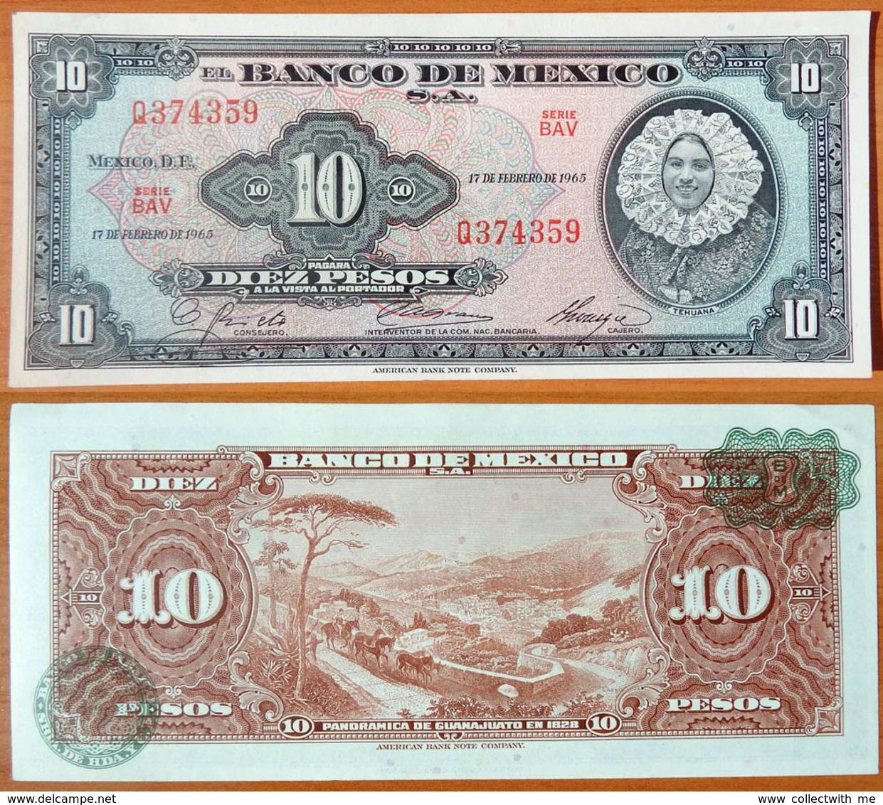 Mexico 10 Peso 1965 AUNC Dark Green Seal - Mexique