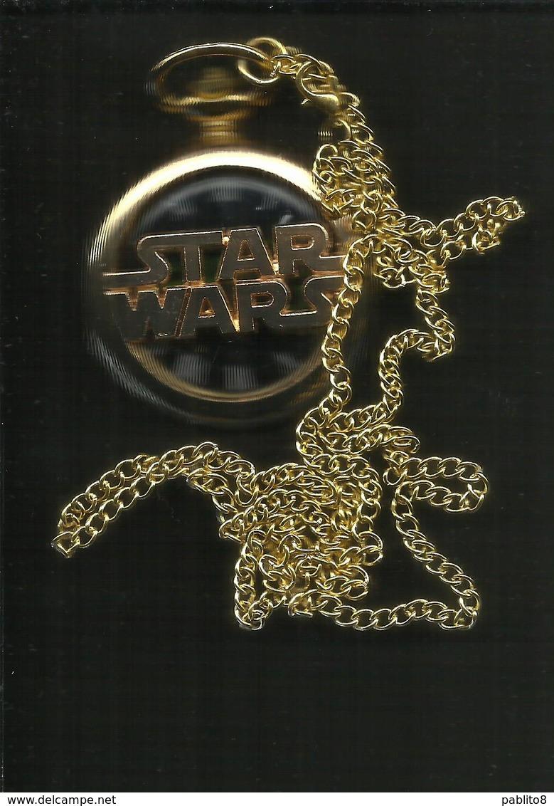 Star Wars Gold Pocket Watch Antique Darth Vader Episode 9 IX Disney With Chain - Orologi Da Polso
