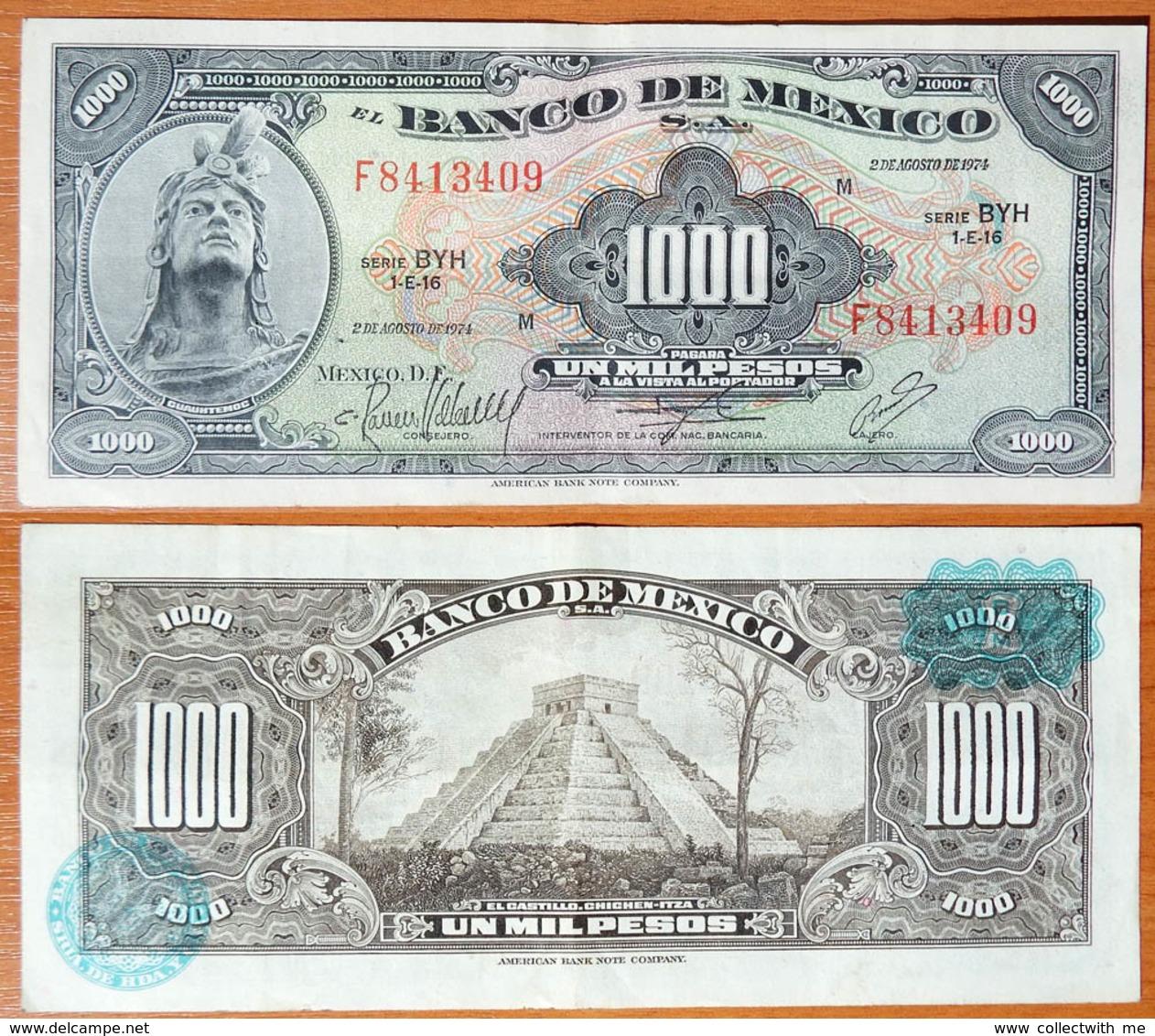 Mexico 1000 Pesos 1974 Light Blue Seals - Mexique