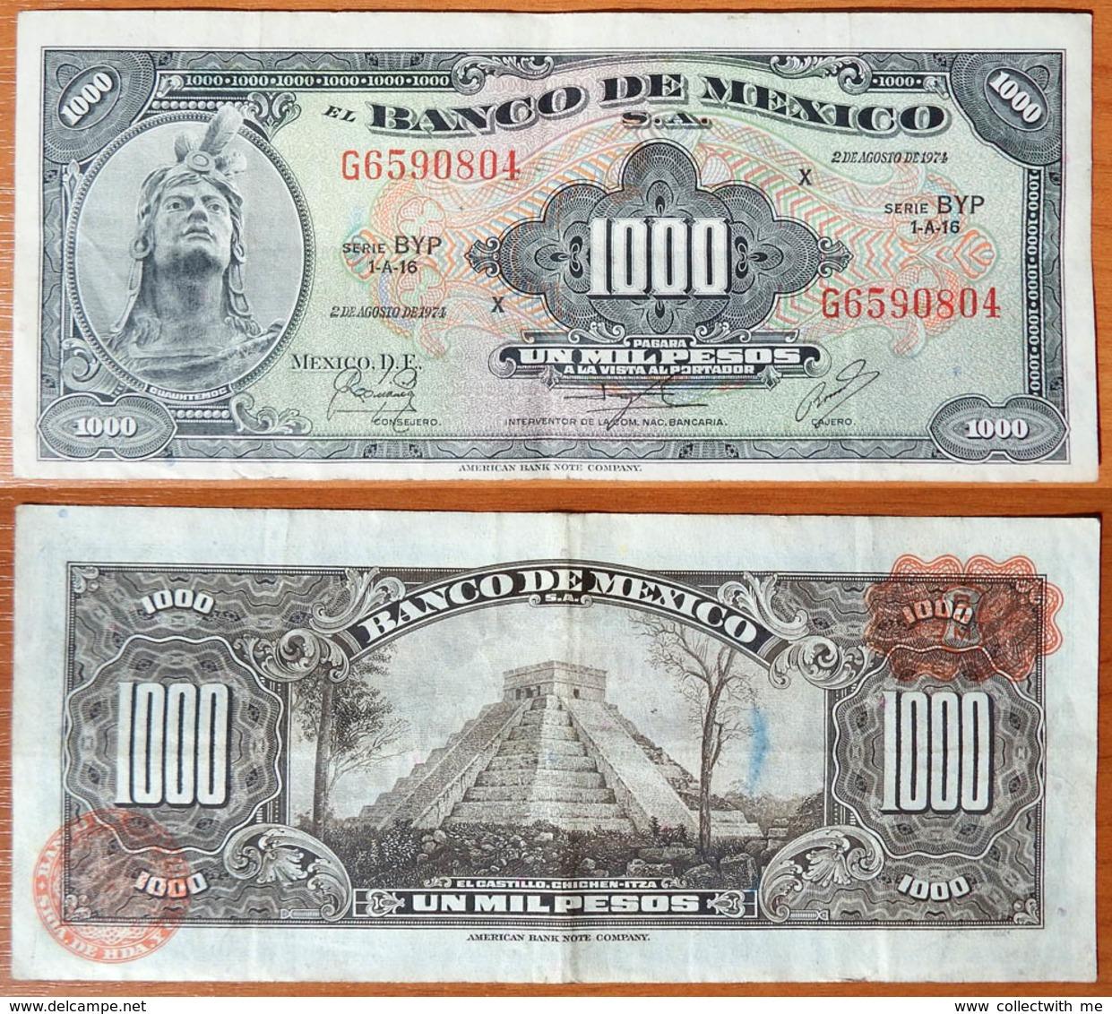 Mexico 1000 Pesos 1974 Brown Seals - Mexique