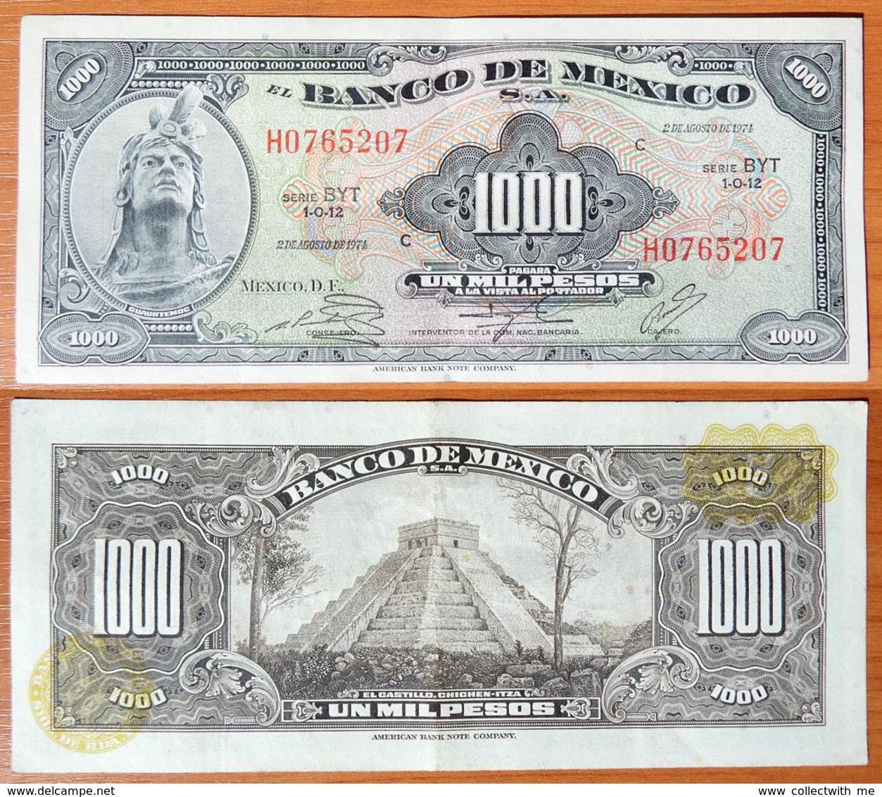 Mexico 1000 Pesos 1974 XF Yellow Seals - Mexique