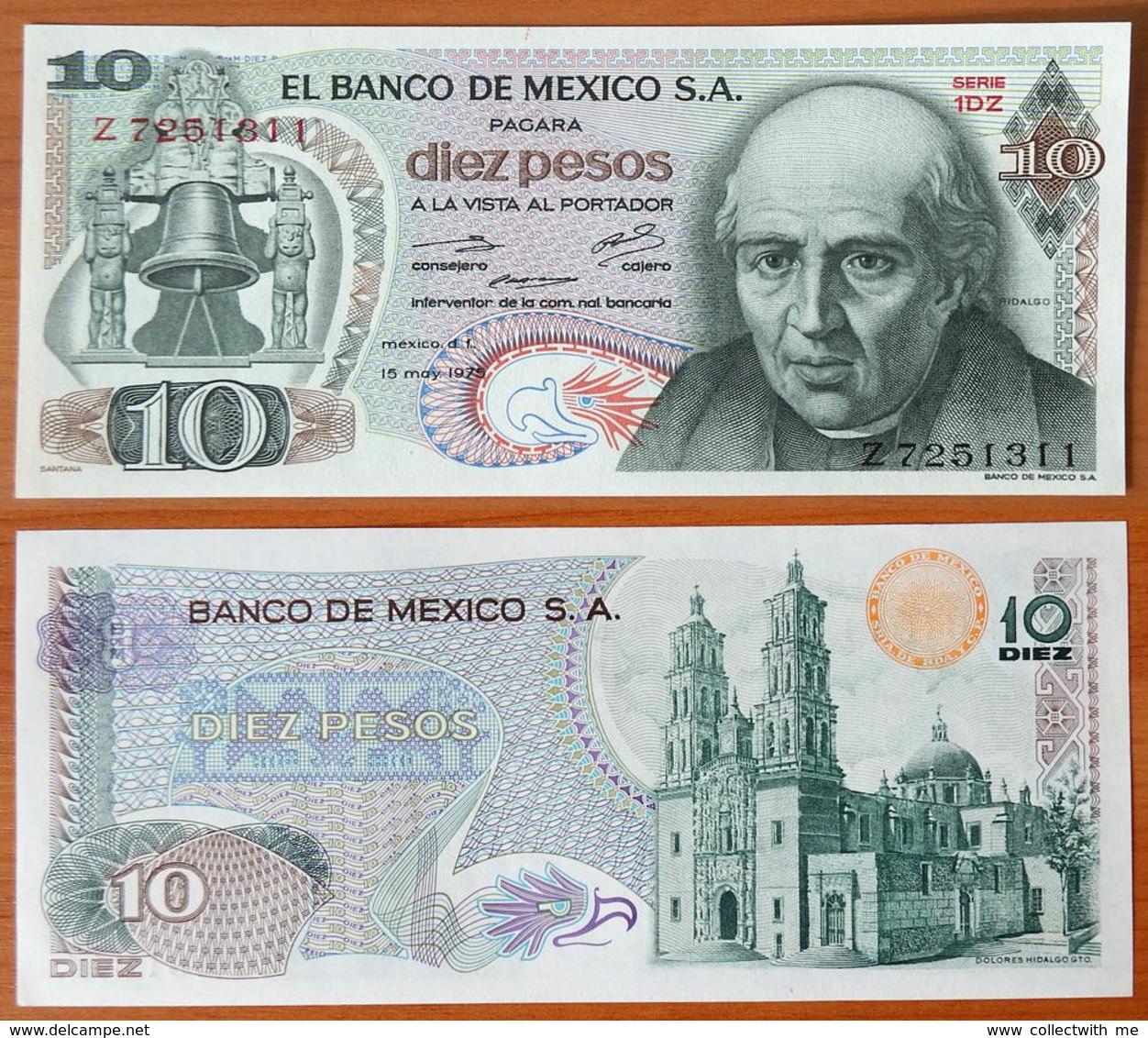 Mexico 10 Pesos 1975 UNC Orange Seal (Sign.2) - Mexique