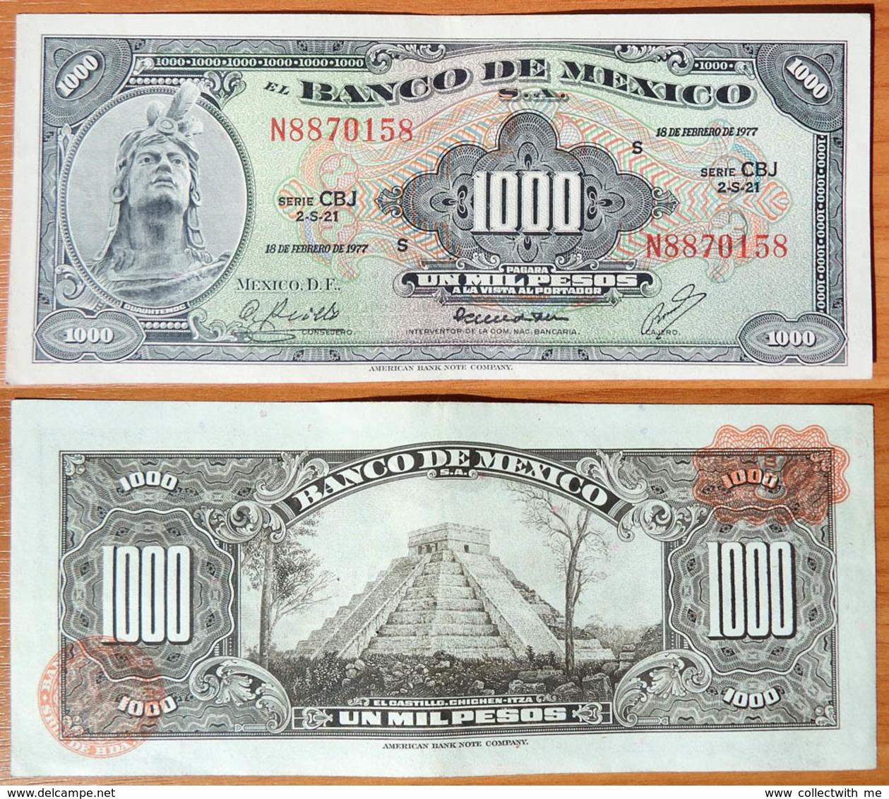 Mexico 1000 Pesos 1977 Brown Seals - Mexique