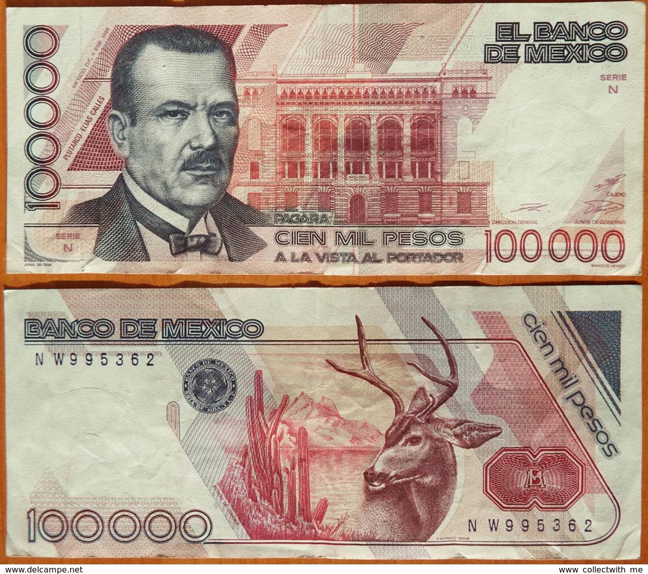 Mexico 100000 Pesos 1988 Sign. 1 Serie N. Pinholes (stapler) P-94a - Mexique