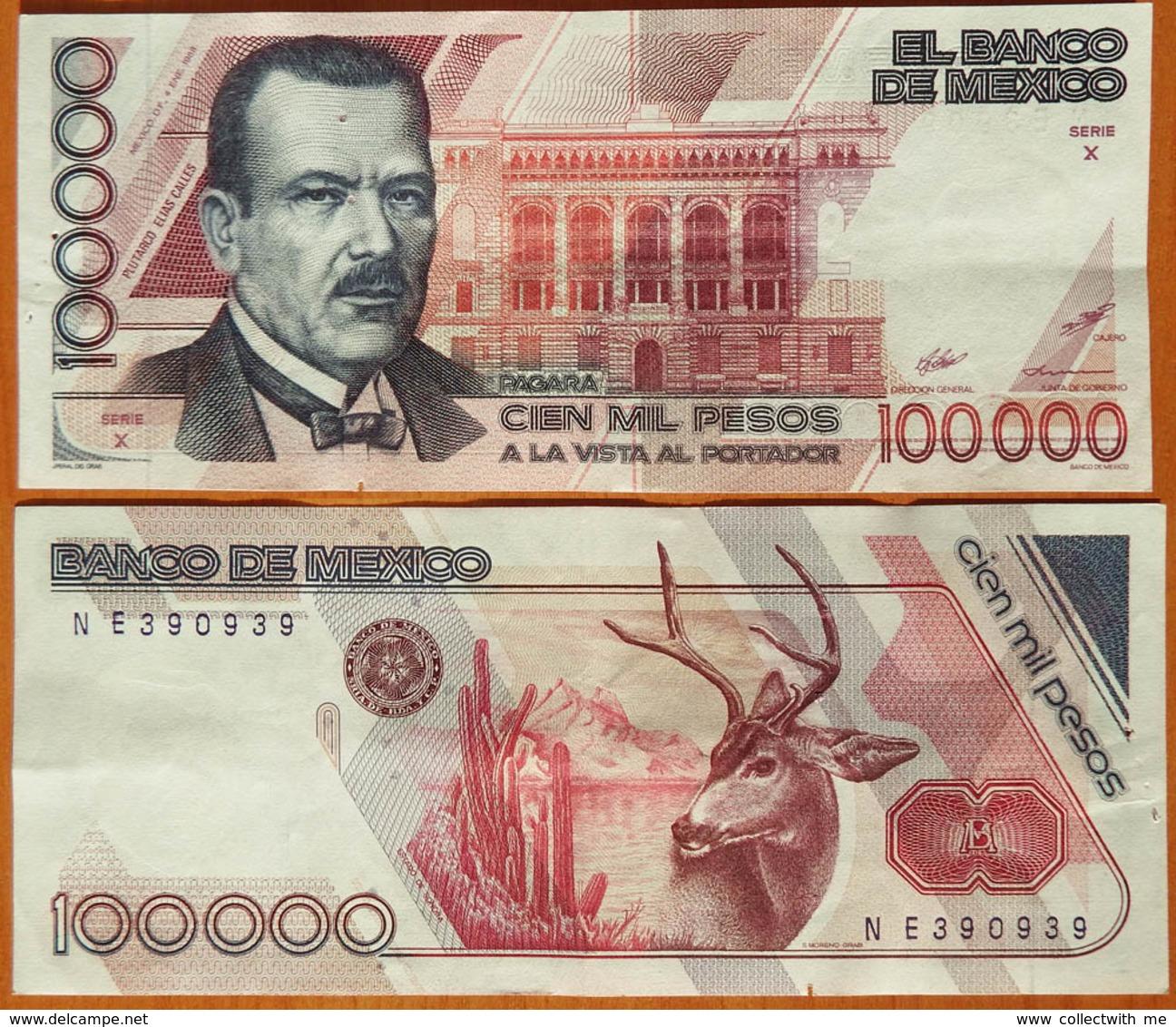 Mexico 100000 Pesos 1988 Sign. 2. Serie Х. Pinholes (stapler) P-94a - Mexique