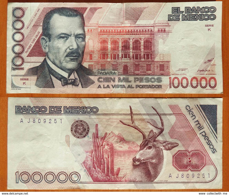 Mexico 100000 Pesos 1988 Sign. 4. Serie Y Pinholes (stapler) P-94a - Mexique