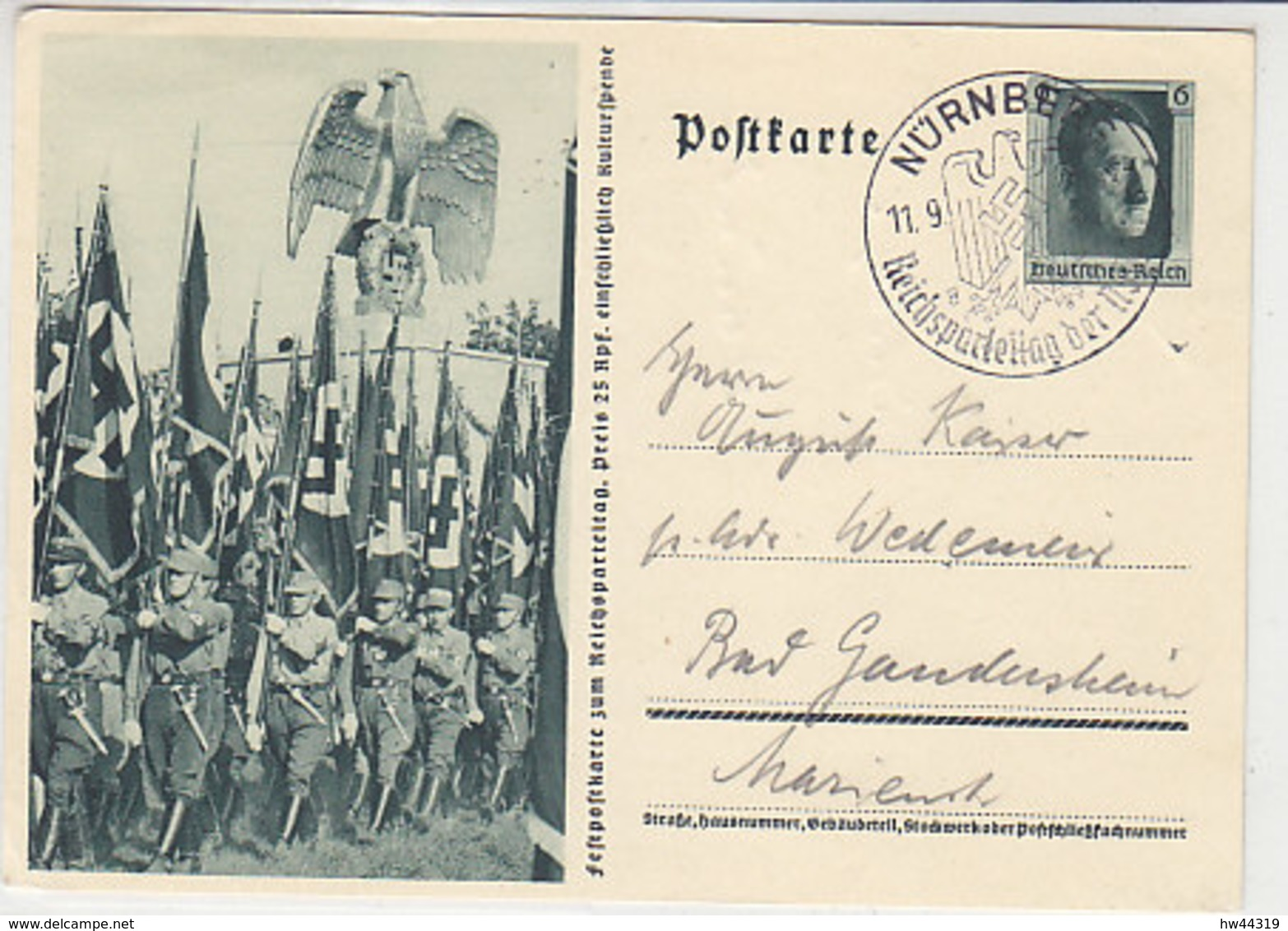 P 264 / 02 Aus NÜRNBERG 11.9.37 Nach Bad Gandersheim - Duitsland
