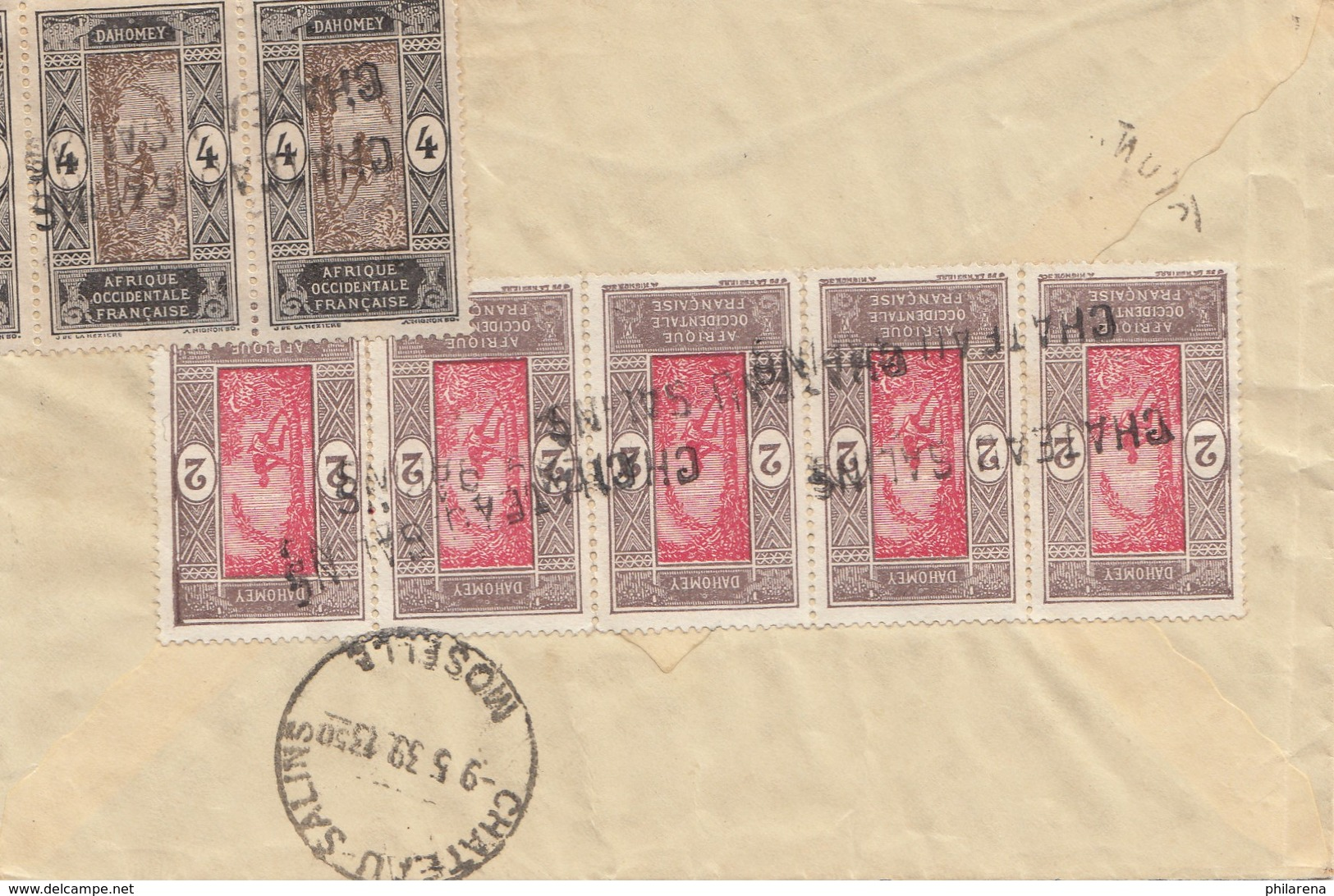 French Colonies: Dahomey 1939: Letter To Chateau Salins/France - Bénin – Dahomey (1960-...)
