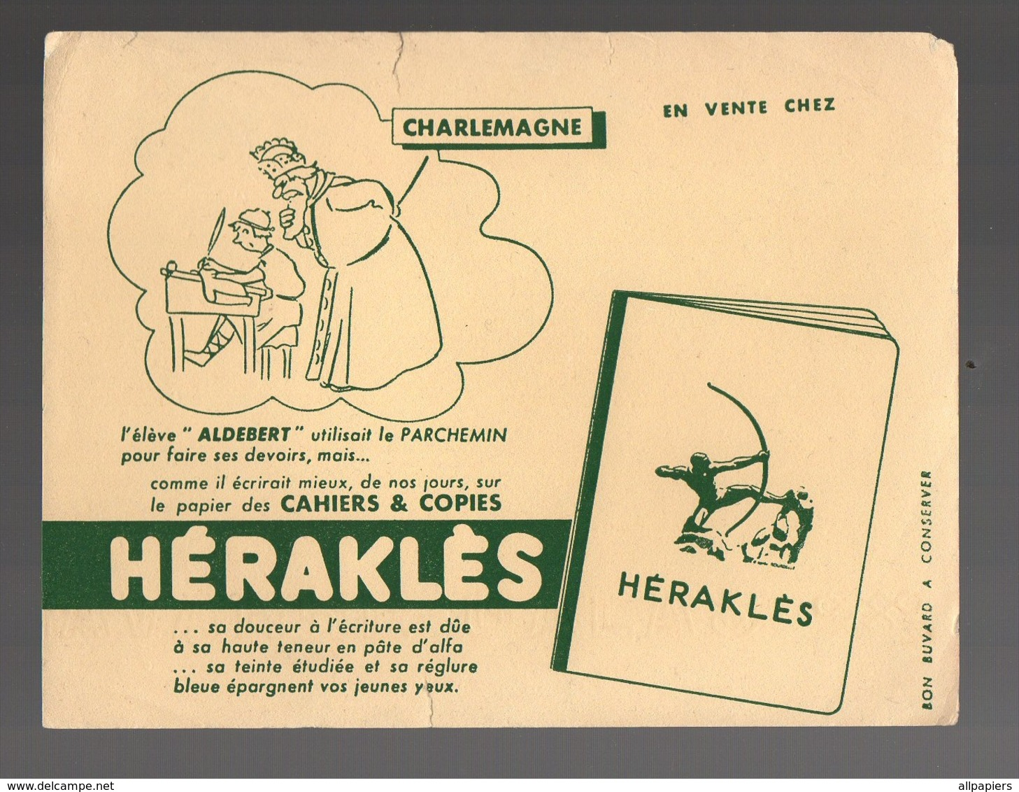 Buvard Héraklès Cahiers & Copies - Charlemagne - Stationeries (flat Articles)