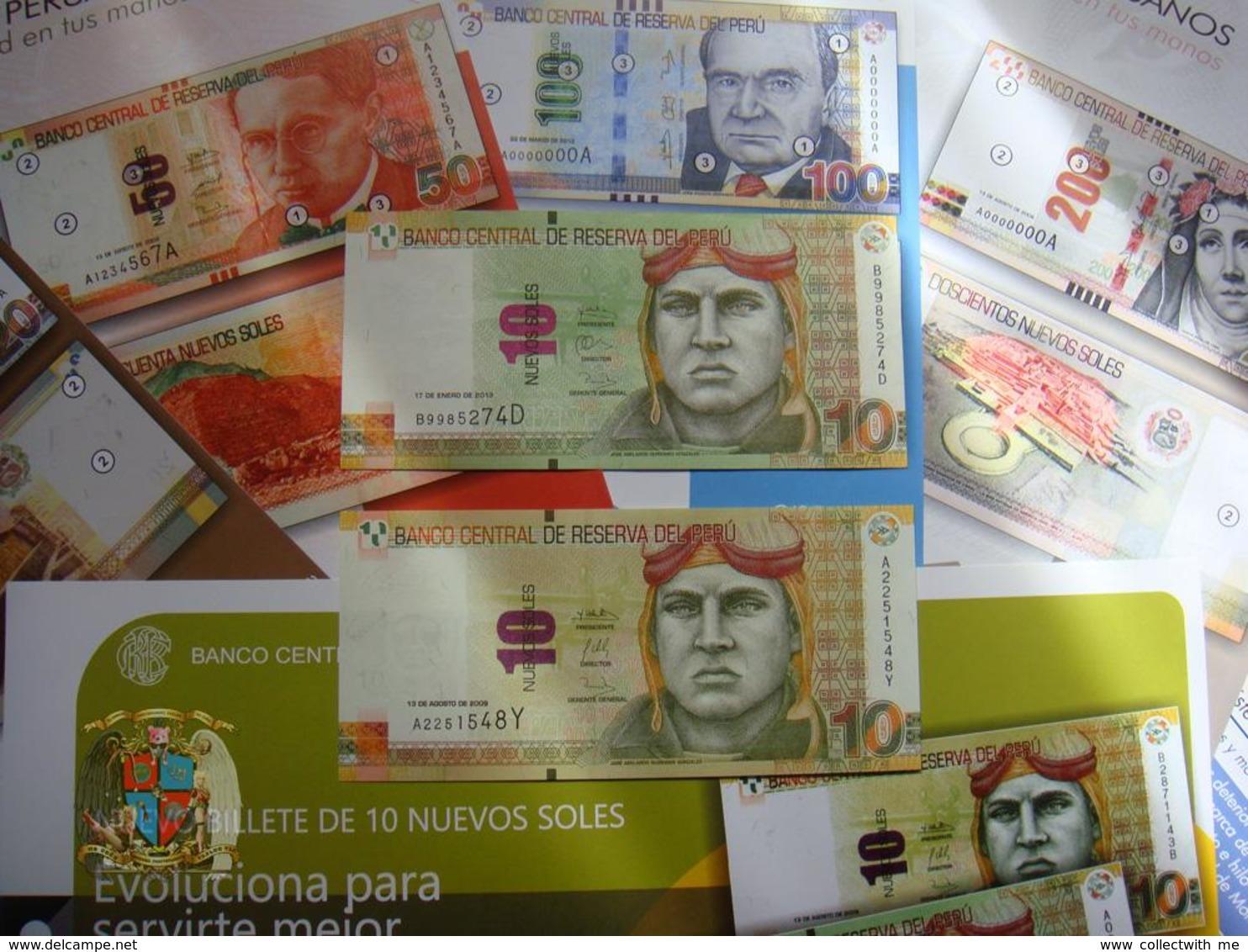 Peru 10 Soles 2009 UNC + 10 Soles 2013 UNC + 6 Posters - Pérou