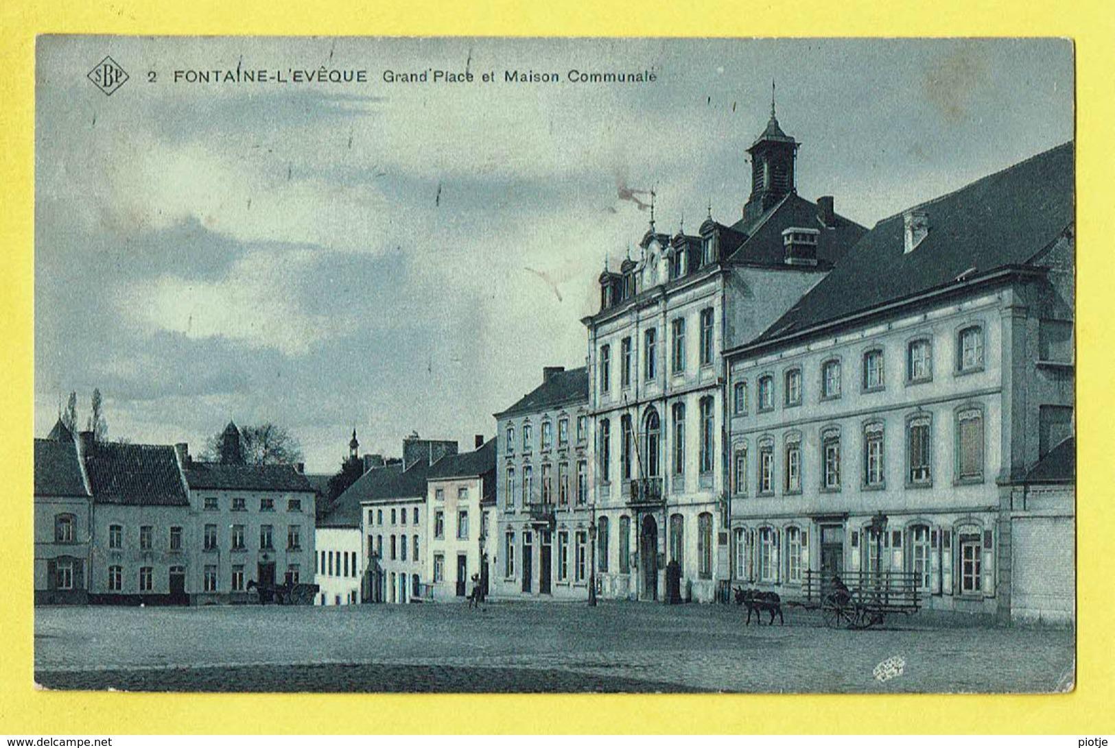 * Fontaine L'Eveque (Hainaut - La Wallonie) * (SBP, Nr 2) Grand'Place Et Maison Communale, Char, Attelage, Old, TOP - Fontaine-l'Evêque