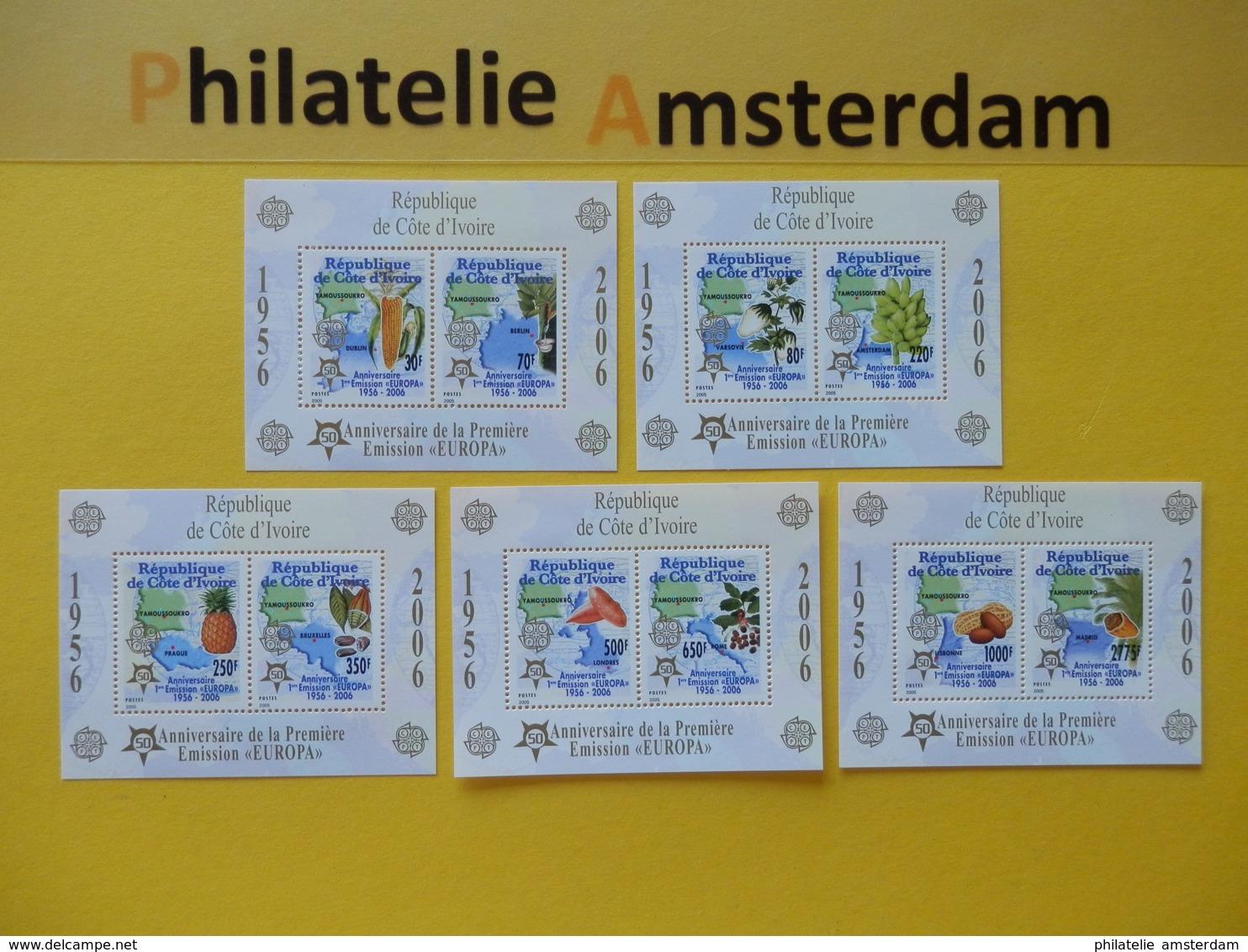 Ivory Coast 2005, 50 YEARS EUROPA CEPT 1956-2006 / FLORA: Mi 1461-70, Type A, Bl. 169-73, ** - 2006