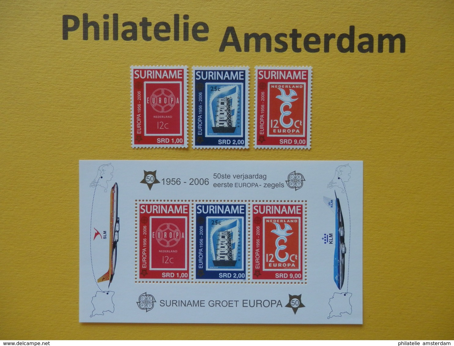 Suriname 2006, 50 YEARS EUROPA CEPT 1956-2006 / STAMPS ON STAMPS, Mi 2028-30, + Bl. 100, ** - Europa-CEPT