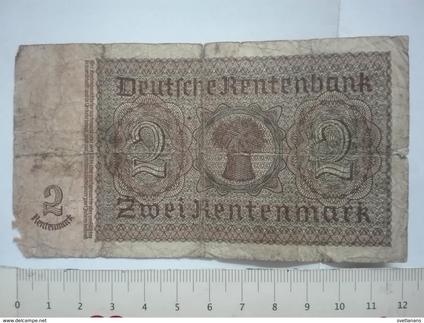 WWII WW2 2 DEUTSCHE RENTENMARK RENTENBANK MARK BANK BANKNOTE GERMANY CONCENTRATION CAMP KONZENTRATIONSLAGER KZ BERLIN - Unclassified