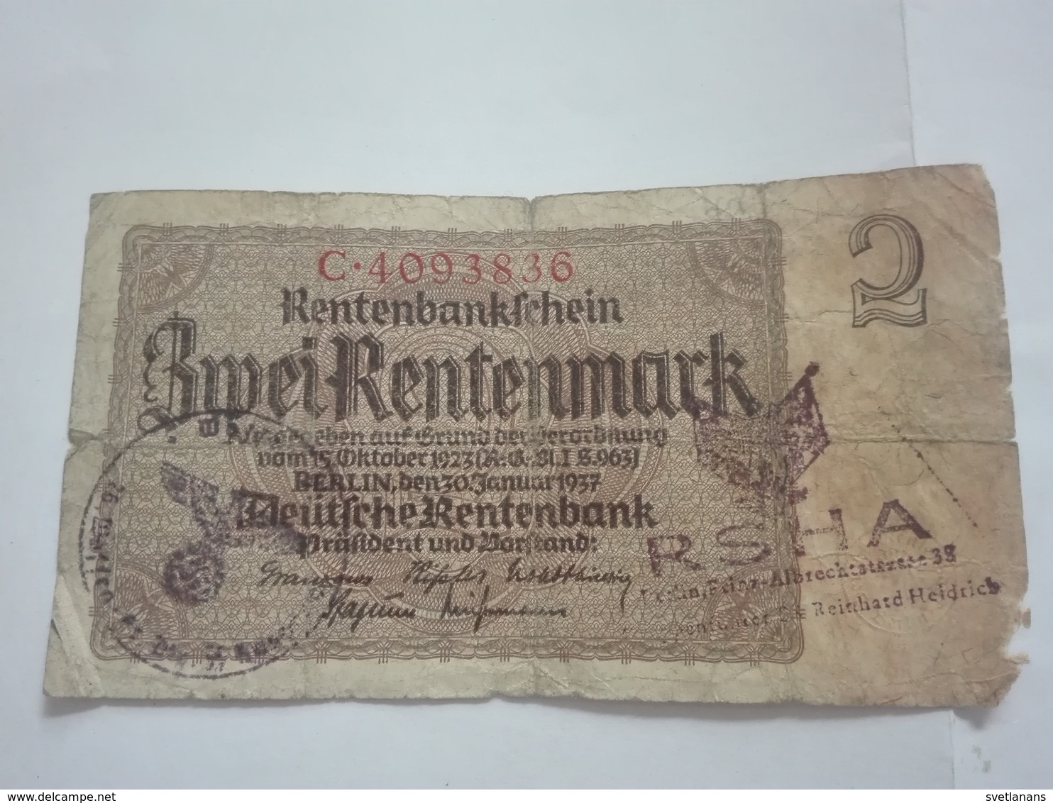 WWII WW2 2 DEUTSCHE RENTENMARK RENTENBANK MARK BANK BANKNOTE GERMANY CONCENTRATION CAMP KONZENTRATIONSLAGER KZ BERLIN - [ 4] 1933-1945: Derde Rijk