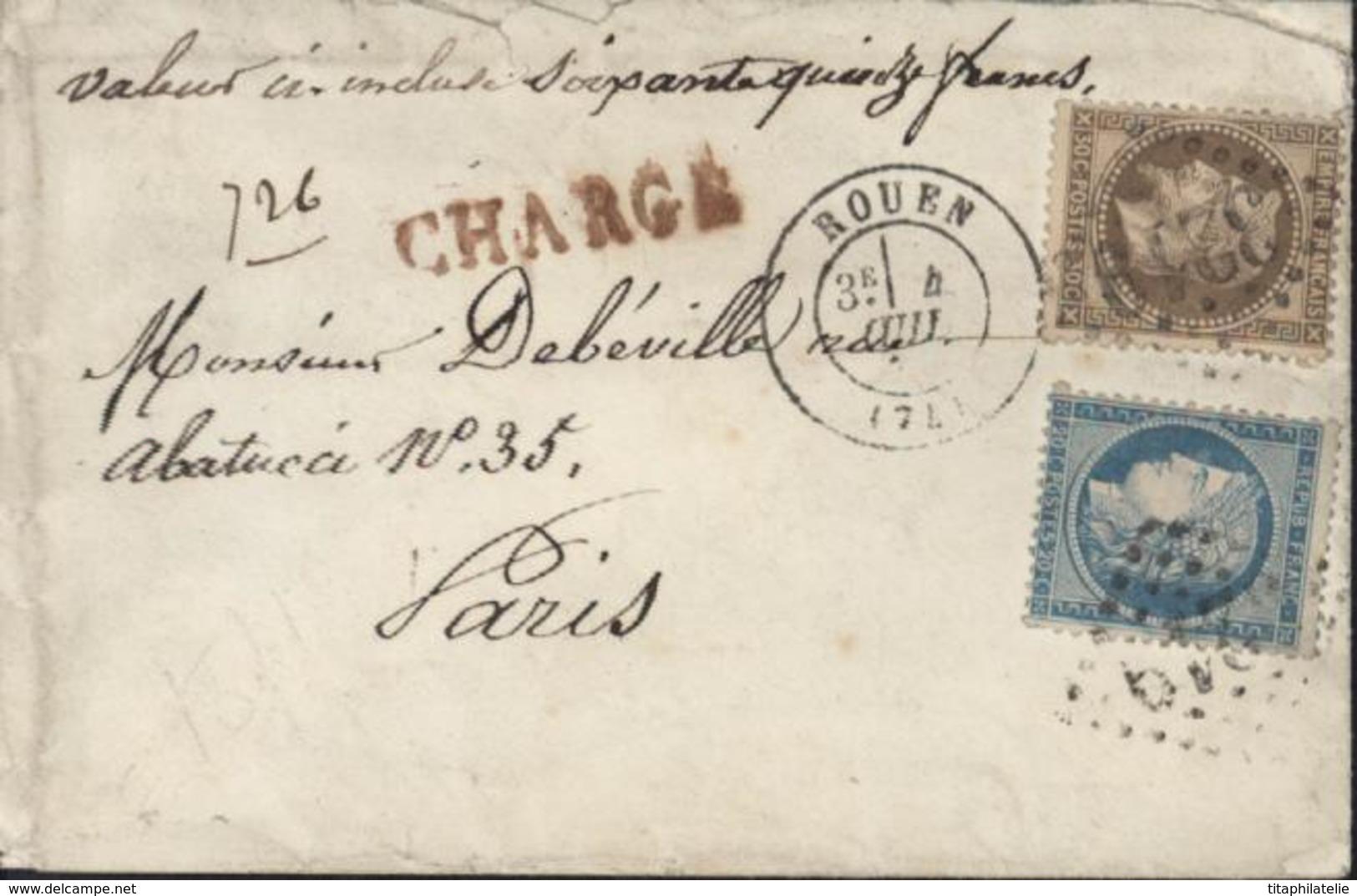 Valeur Déclarée YT 37 Ceres Bleu 20c Siège YT 30 Empire Lauré 30c Brun GC 3219 CAD T17 Rouen 4 7 71 Chargé Tarif Rare - 1849-1876: Classic Period
