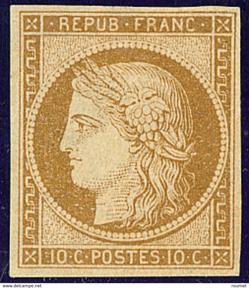 * No 1, Bistre Jaune, Nuance Foncée, Forte Trace De Charnière Mais Très Frais Et TB. - R - 1849-1850 Ceres