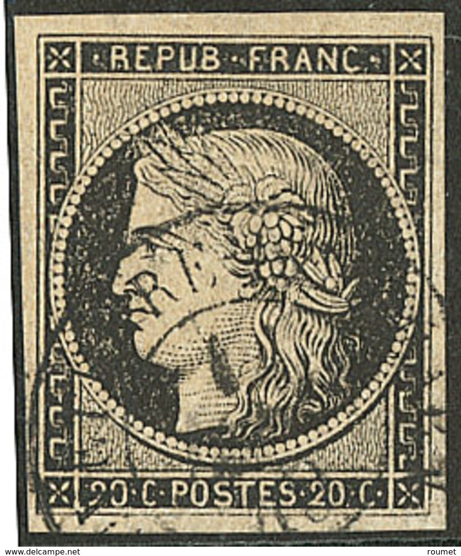 Oblitérations Sur 20c Noir. Cad Noir Type 15. 1er Janvier 49. No 3. - TB. - R - 1849-1850 Ceres