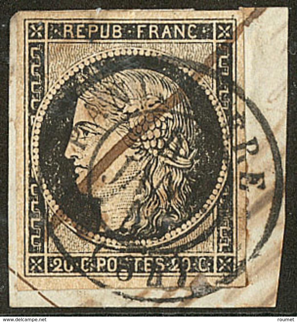 Oblitérations Sur 20c Noir. Cad Noir Type 15. 4 Janvier 49 De Panissiere, Cad + Plume Sur N°3 Sur Support. - TB - 1849-1850 Ceres