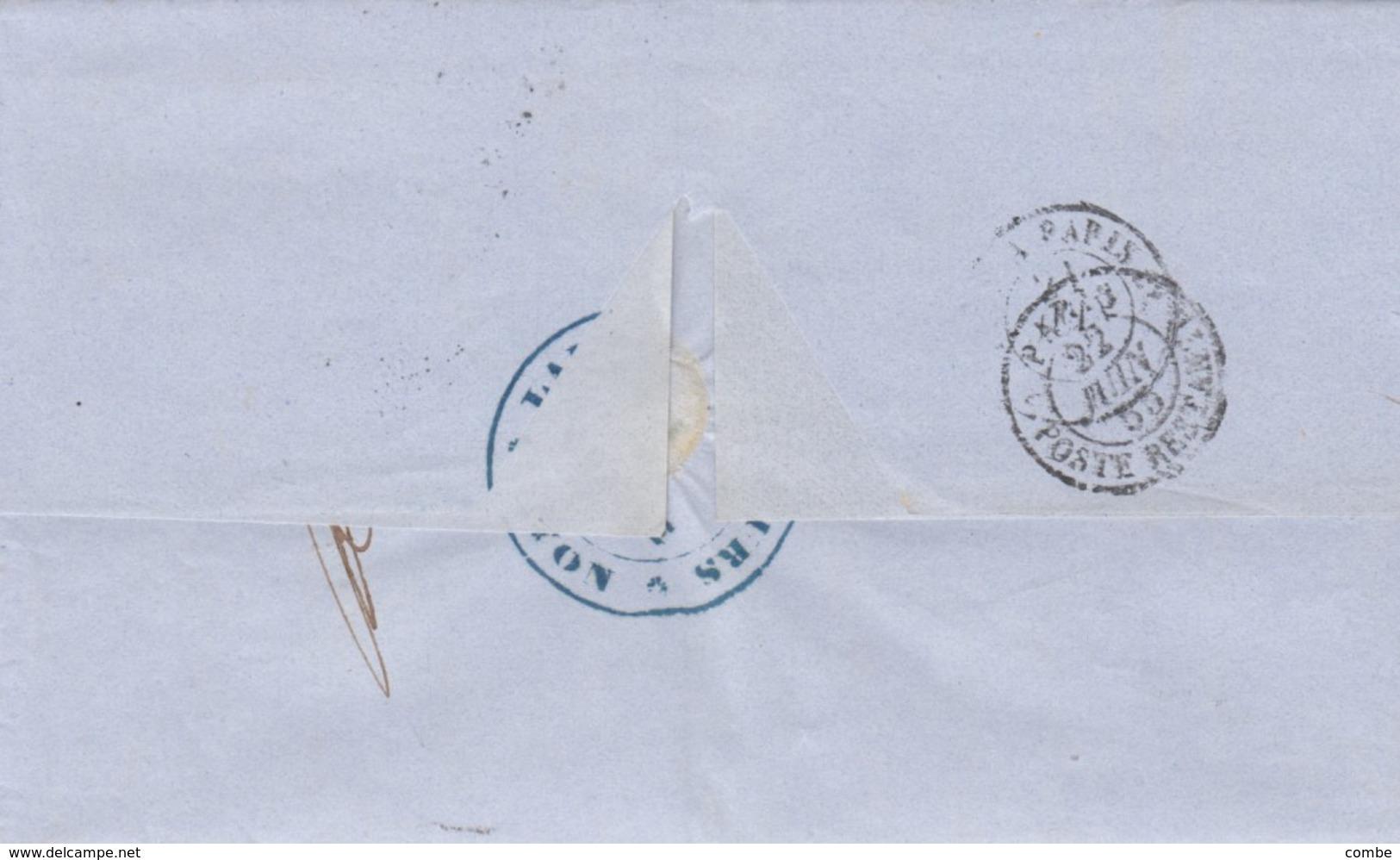 LETTRE COVER. 1855. BANK  ROTHSCHILD. LAURENT DESCOURS LYON TO PARIS. NO CORRESPONDANCE - Briefmarken