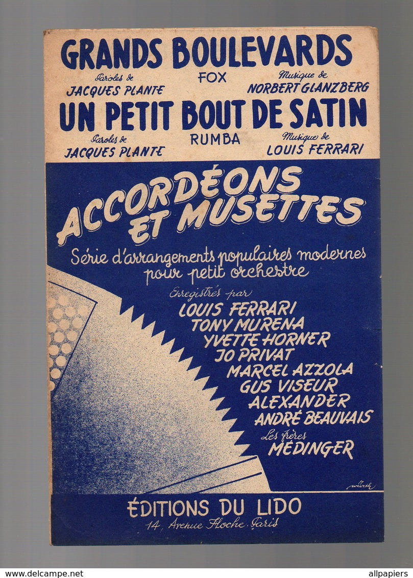 Partition Grands Boulevards Fox Et Un Petit Bout De Satin Rumba - Accordéons Et Musettes Enregistré Par Yvette Horner - Opéra
