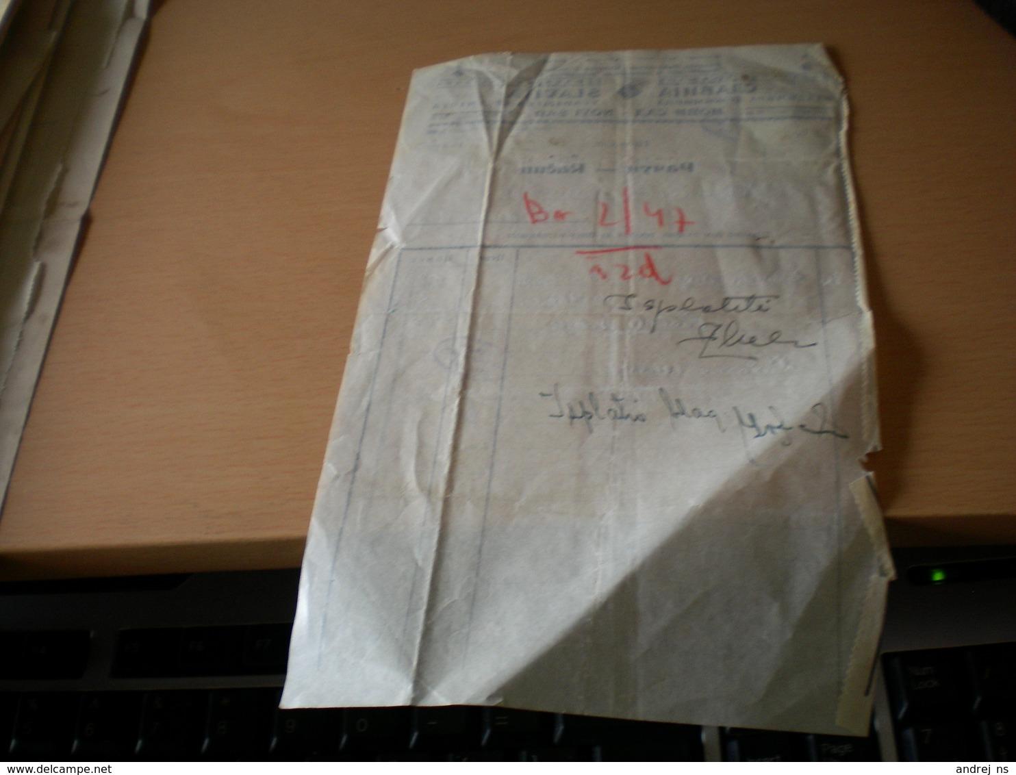 Novi Sad Slavija Racun Tax Stamps 2 Dinara Overprint - Facturas & Documentos Mercantiles