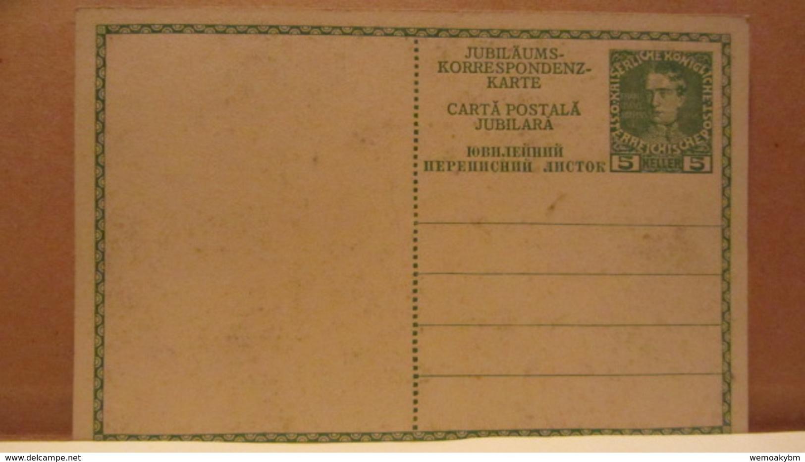 Österreich GA 5 Heller Jubiläums-Korrespondenz-Karte (Dreisprachig) 1848 - 1908 Ungebraucht Mit Bild Franz Joseph - Interi Postali