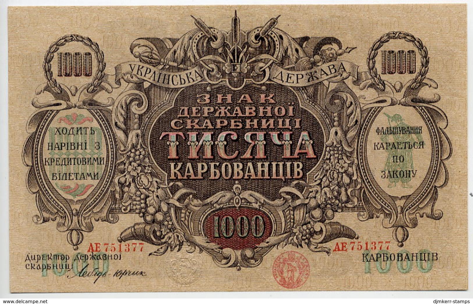 UKRAINE 1918 1000 Karbpvantsiy    UNC (unfolded) - Ukraine