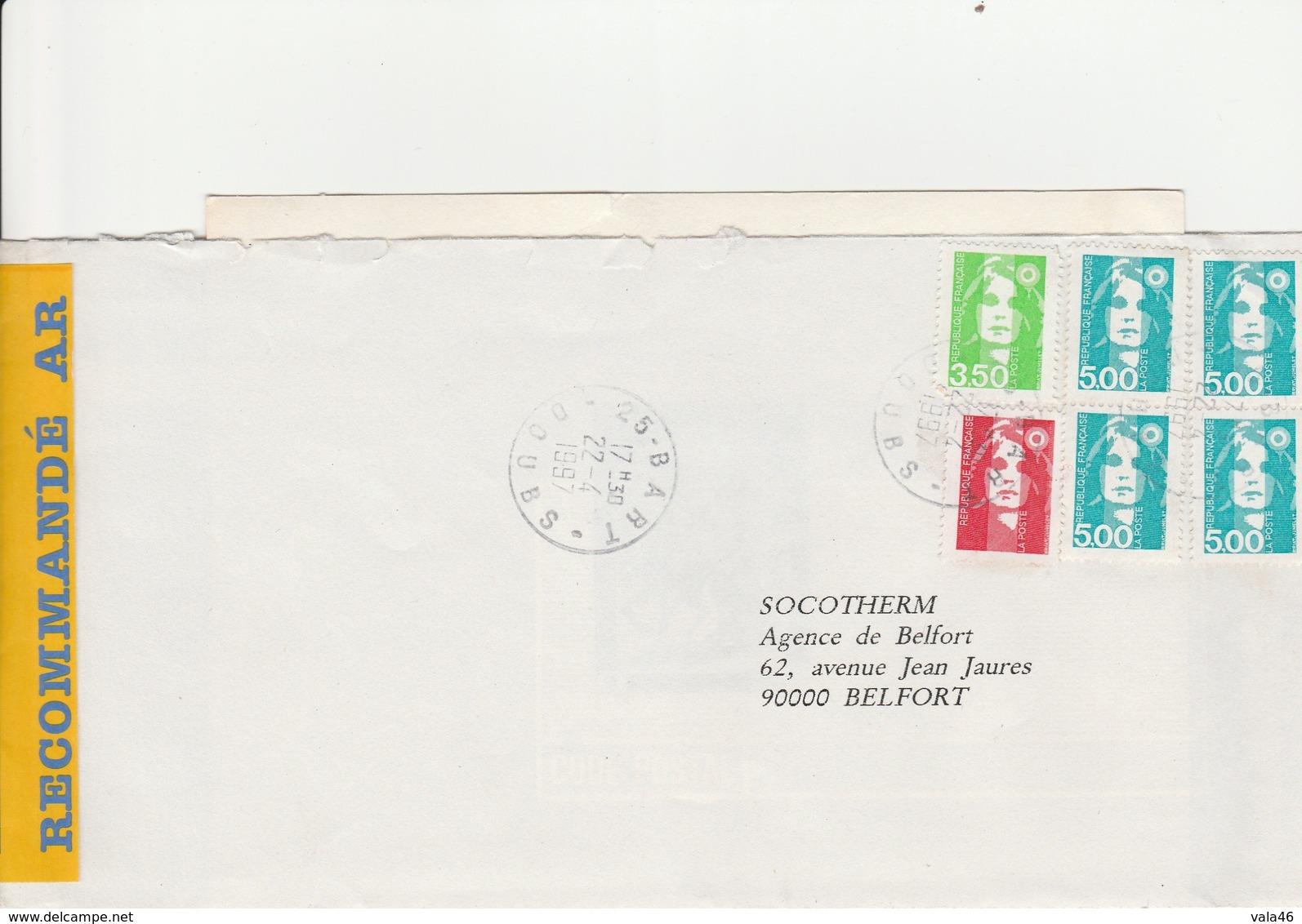 MARCOPHILIE  MARIANNE DU BICENTENAIRE AFFRANCHISSEMENT TRICOLORE DE BART - Marcophilie (Lettres)