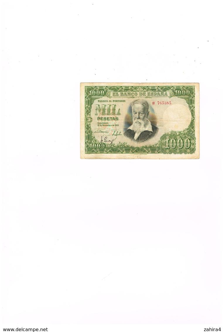 El Banco De Espana - 1000 - Mil Pesetas - Pagara Al Portador  - B  765385 - [ 3] 1936-1975: Regime Van Franco