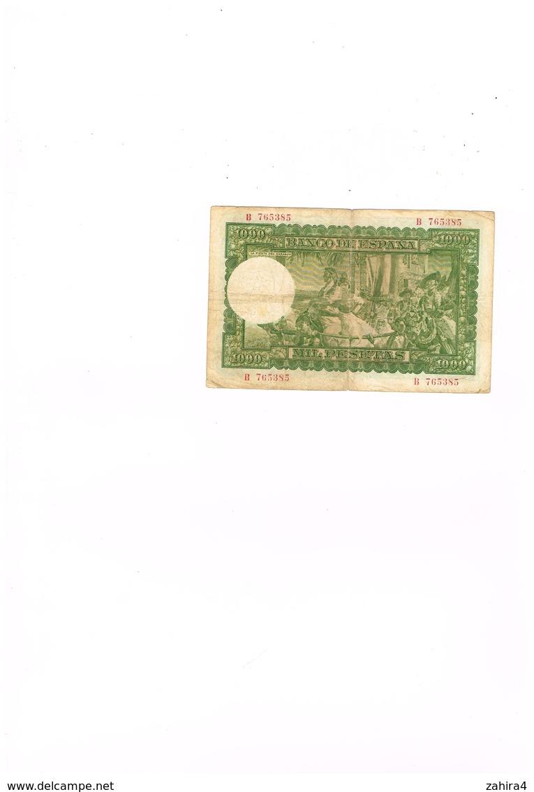 El Banco De Espana - 1000 - Mil Pesetas - Pagara Al Portador  - B  765385 - [ 3] 1936-1975 : Régence De Franco